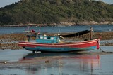 Fishing boat red bleu paint Thailand Phuket high tide low tide photograph trip