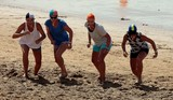Women in line for a race in the sand Torquay Beach Surf Competition Australia Victoria