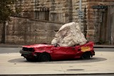 Pottinger Street car crash Roundabout Sydney Street art sculpture Australia
