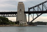 Harbour Bridge steel through arch bridge across Sydney Bay Australia